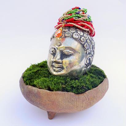 【仏像盆栽】苔(オリジナル宝冠付き)