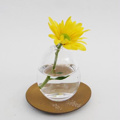一輪挿しガラス(滴型)+受け皿(茶・盤)