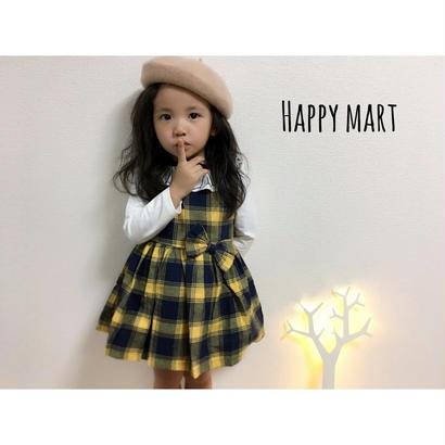 (即納♡)(kids☆)チエックワンピース&襟シャツ2点セット♡