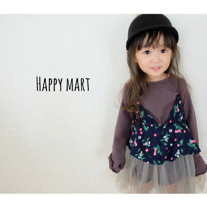 (kids♡)(即納♡モード)花柄チュチュ付ワンピース+ロングTセット