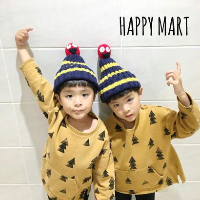 (即納♡)(kids☆)お人形付ボーダーニット帽