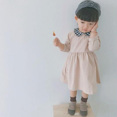 (即納♡)(kids☆)襟ギンガムチェックワンピース