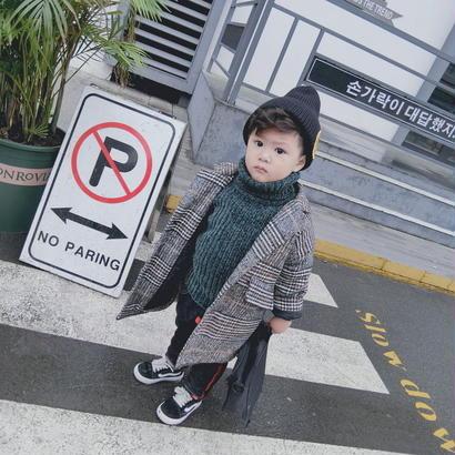 (即納♡)(kids☆)グレンチェックロングコート