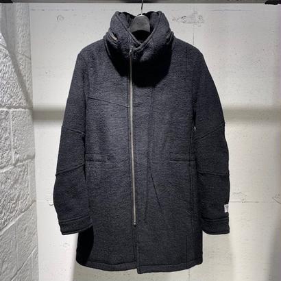 【Custom Culture】ボリュームネック フーデットコート ブラック