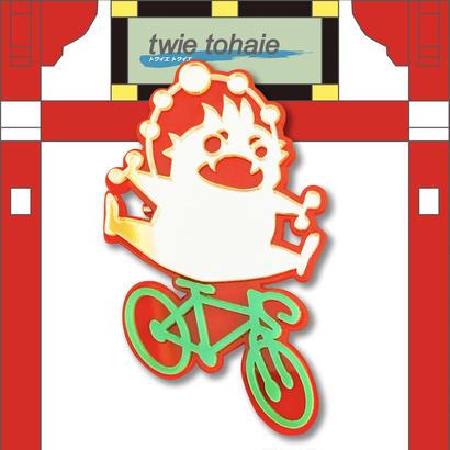 雷神ブローチon自転車 リフレクターブローチ