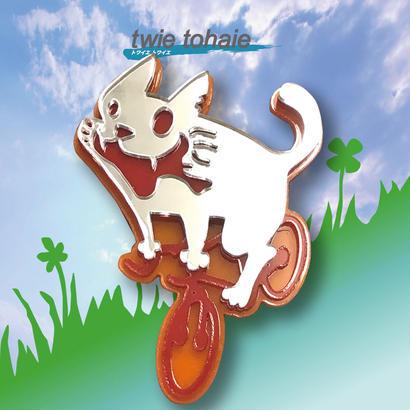 猫ブローチon自転車 リフレクターブローチ レッド