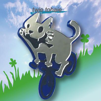 猫ブローチon自転車 リフレクターブローチ ブルー