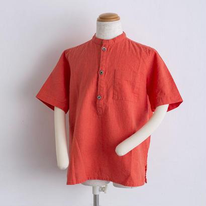 麻 スタンドカラー shirts(140cm,160cm)オレンジ