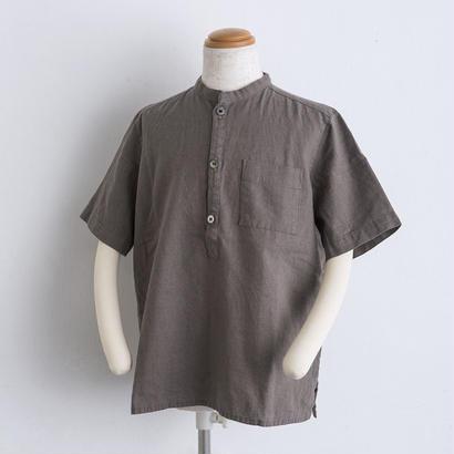 麻 スタンドカラー shirts(140cm,160cm)ブラウン