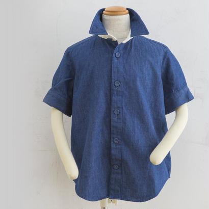 Harf  sleeve shirts  コットンレースデニムシャツ(140,160cm)