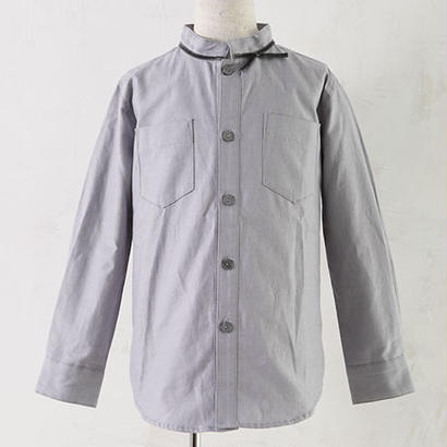 long sleeve Ribbon shirts グレー(100.120cm)