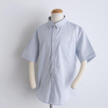 モチーフ刺繍 オックスフォード shirts(140cm,160cm)ブルー