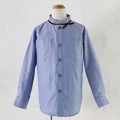 long sleeve Ribbon shirts ブルー(140cm)