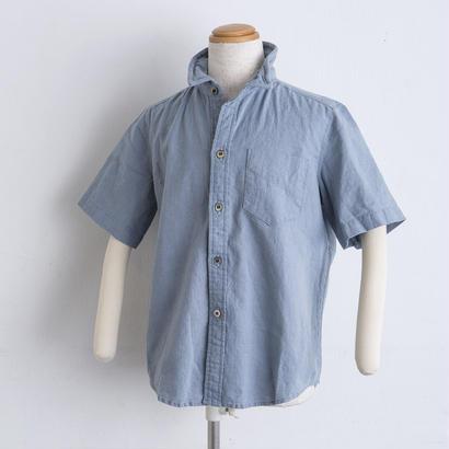麻 ワイヤー襟 shirts(140cm,160cm)ブルー