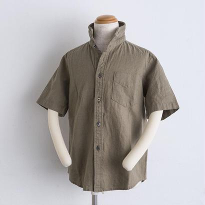 麻 ワイヤー襟 shirts(140cm,160cm)カーキ