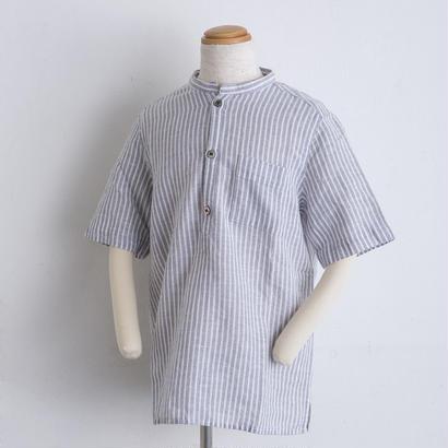 麻 スタンドカラー shirts(140cm,160cm)ストライプ