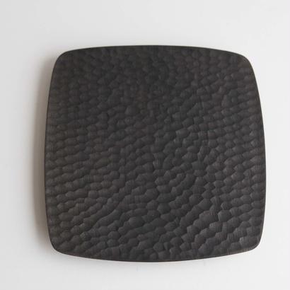 萬次郎家具 四角皿鉄媒染  b.8寸