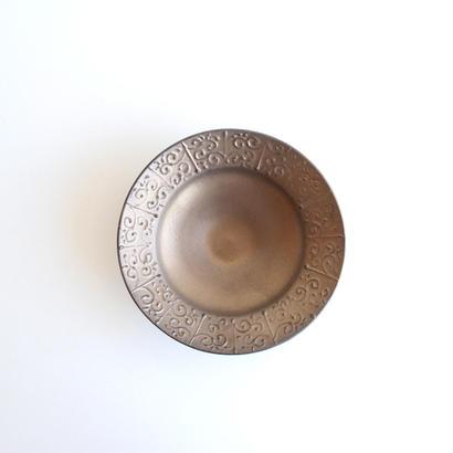 前田麻美 ブロンズ釉イッチン6寸鉢
