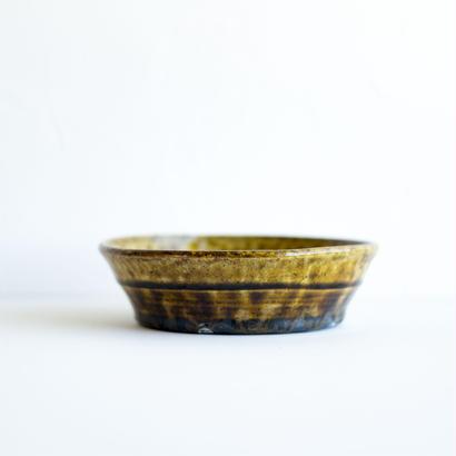 アメ釉台形鉢