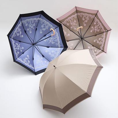 お花がきれいなレース調の傘 50cm/長傘 晴雨兼用 [OSC040 BL/BE/P]