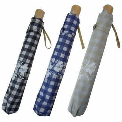 ギンガムチェックがかわいい!二段式折畳み晴雨兼用傘 [OSL104 BL/NE/BE]
