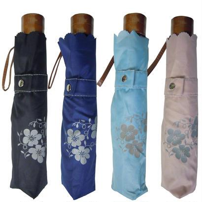 風に強い!軽量コンパクトな折り畳み傘 花柄やステッチが暗い夜道に反射して光る! [OSG006 BL/NE/SA/PI]