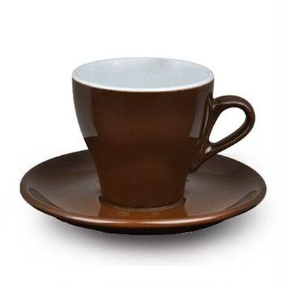 ACF CAPPUCCINO CUP 5.5oz (6 cups & saucers set) WHITE / BROWN