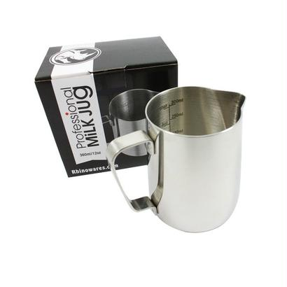 RHINOWARES MILK PITCHER 12oz (with ml/oz lines)