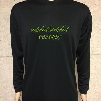うんレコ ロゴ 03 長袖 (BLACK/GREEN HIGHLIGHTER)