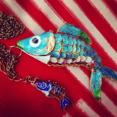 Pendant Top & Chain  大魚と小魚