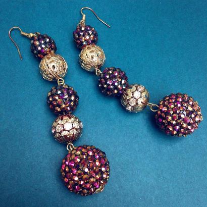 Vintage Pierce/Earring「5連の装飾球体」