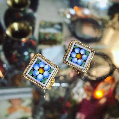 """earring """"micro  mosaic""""「菱正方形(小) 六丸花弁の小花」"""