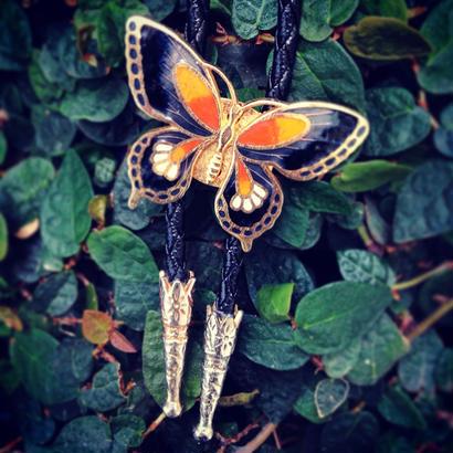 Loop-tie  黒朱の蝶