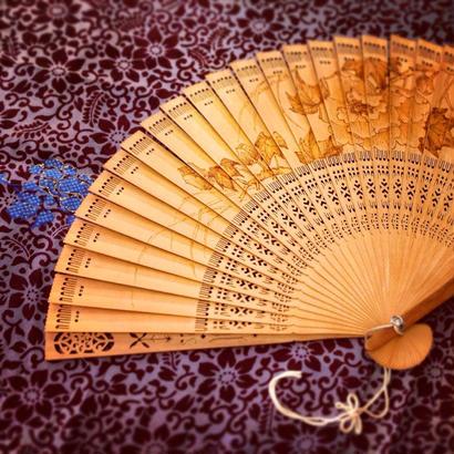 Fan  表裏に牡丹と風景