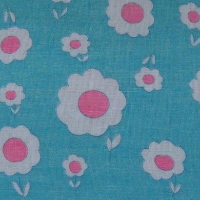 #003 レトロな白い花 鮮やかブルー生地