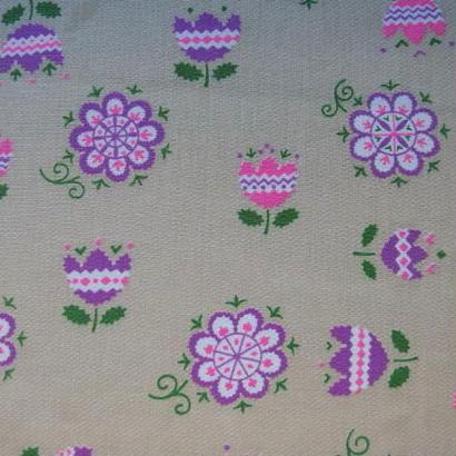 #013 レトロなピンクと紫の花柄