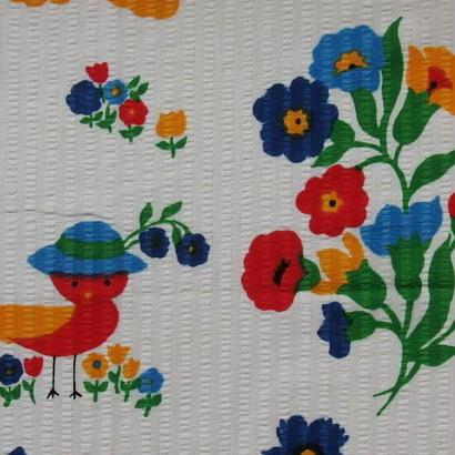 #404 レトロな可愛い花と鳥さん柄 サッカ生地