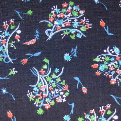 #012 レトロな小花の花束柄 黒い生地