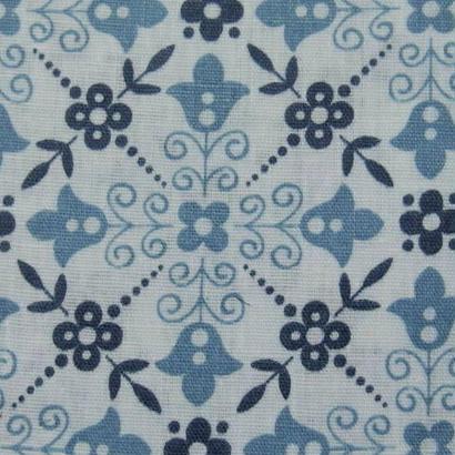 #116 レトロなブルーの花の幾何学模様