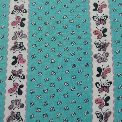 #138 レトロなミント色の蝶柄