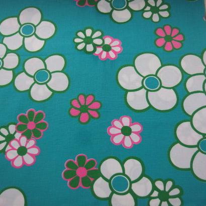 #122 レトロ花と花柄 エメラルドカラー 60s