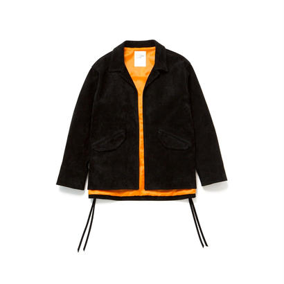 SUEDE COACHES JACKET - BLK