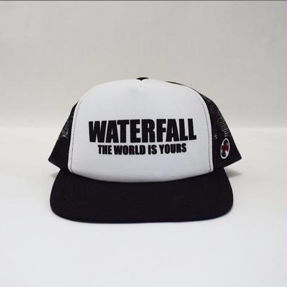 「レコードワッペン&ロゴメッシュキャップ」 ホワイト×ブラック F 夏物 新作 WATERFALL