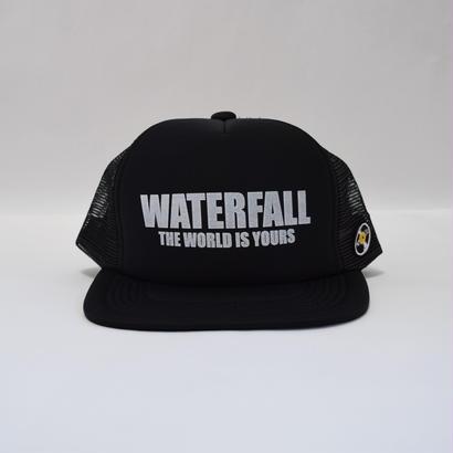 「レコードワッペン&ロゴメッシュキャップ」 ブラック F 夏物 新作 WATERFALL