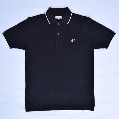 「レコードワッペン綿カノコポロシャツ」 ブラック M / L WATERFALLオリジナルメンズ