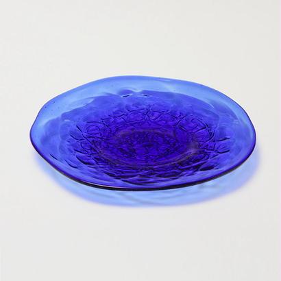 吹きガラス アイスカット皿(青)