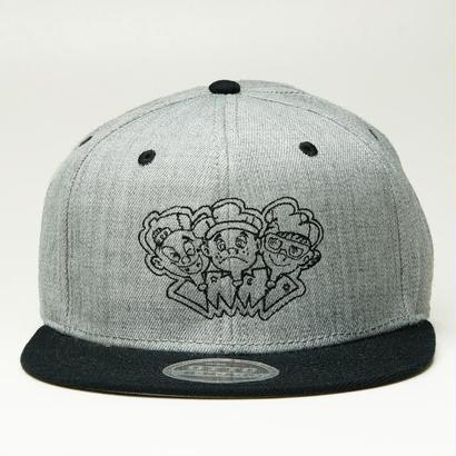 [20% 0FF] 3KIDS SNAPBACK (GRAY/BLACK , GRAY/BLUE , GRAY/RED)