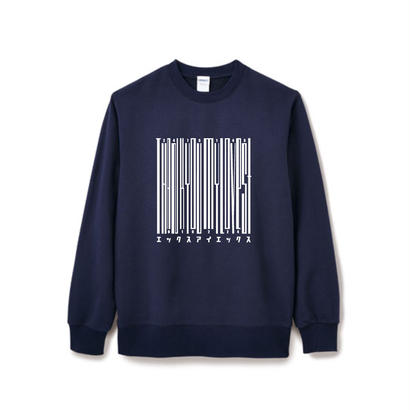 特別color【Square】Thanks Barcode Crew  neck   ネイビー×ホワイト