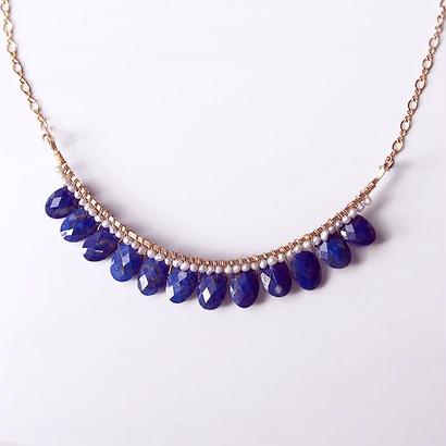ラピスラズリ×グレーケシパールbijoux necklace