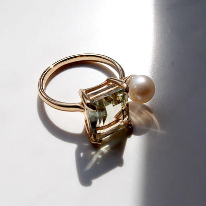 CANDY RING.Green amethyst×Pearl